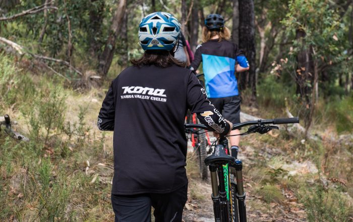 Mountain bikers walking at Warburton