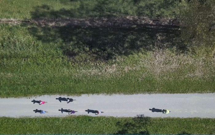 riders on Yarra Valley Trail birds eye view