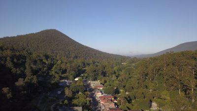 Drone view over Warburton township towards Mount Little Joe