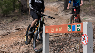 Two mountain bikers at Hey Hey My My Mountain Bike Trail in Warburton