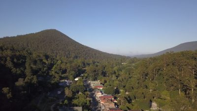 Drone view over Warburton township towards Mount Little Joe