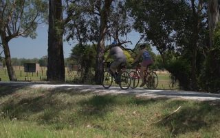 Two riders commuting along existing Lilydale to Warburton rail trail