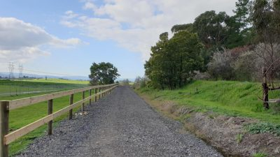Yarra Valley Trail green grass and blue sky looking from Lilydale to Coldstream